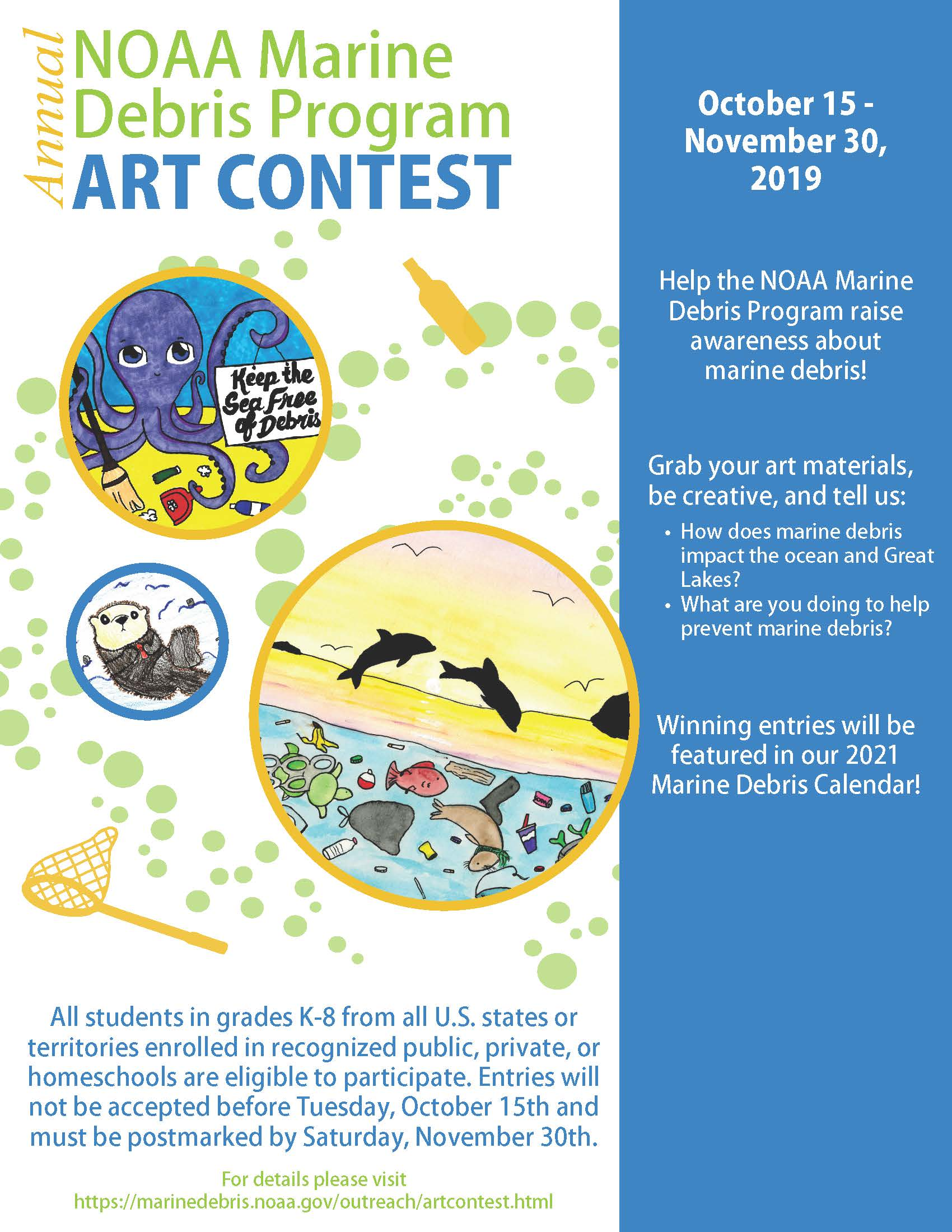 2020 NOAA Marine Debris Art Contest Flyer